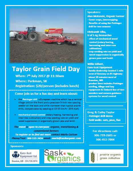 Taylor Grain Field Day, Parkman, SK  7th July @11.30am