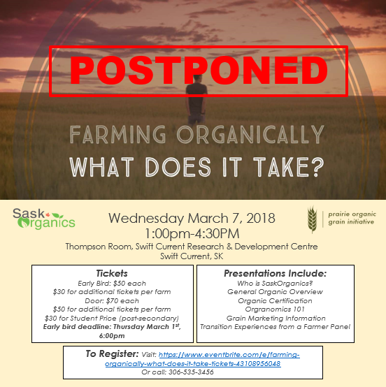 POSTPONED: Farming Organically-What Does it Take?