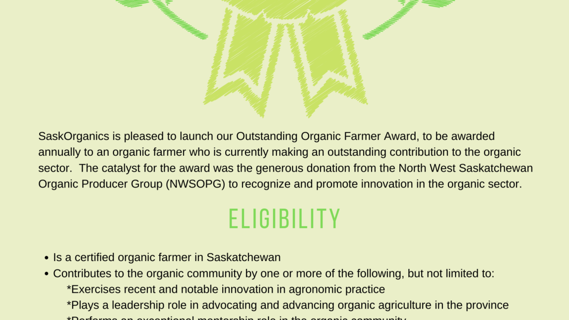 SaskOrganics Launches the Outstanding Farmer Award