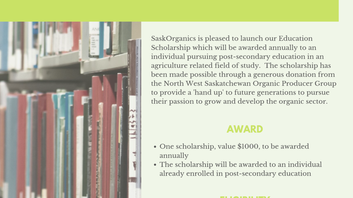 SaskOrganics Launches Education Scholarship