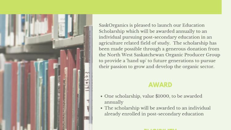SaskOrganics Launches Education Scholarship