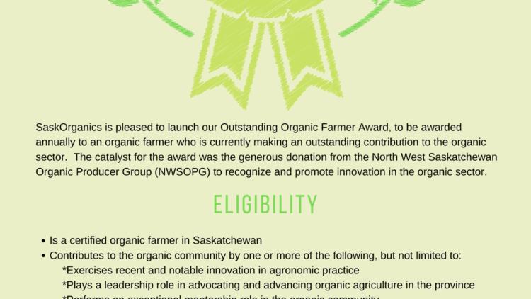 SaskOrganics Launches the Outstanding Farmer Award